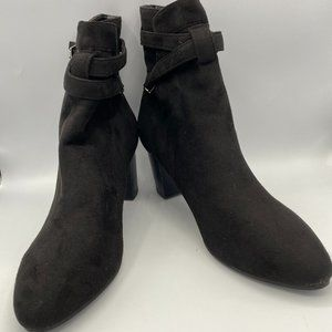 Black Chunky Heel Boots Patent suede  Pointy Toe